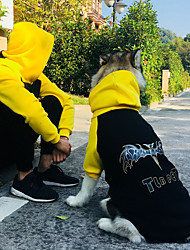 cheap -Dog Costume Hoodie Matching Outfits Animal Quotes & Sayings Sports Casual / Sporty Dog Clothes Breathable Black Costume Cotton Men S Men M Men L Men XL S M