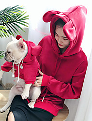 cheap -Dog Cat Costume Hoodie Matching Outfits Winter Dog Clothes Warm Black Red Blue Costume Bulldog Bichon Frise Poodle Fleece Solid Colored Leisure Simple Style Women M S M L XL XXL