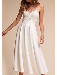 cheap -A-Line V Neck Sweep / Brush Train Chiffon Spaghetti Strap Formal / Boho Plus Size Wedding Dresses with Draping 2020