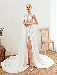 cheap -A-Line Jewel Neck Court Train Chiffon Cap Sleeve Casual / Boho Wedding Dresses with 2020