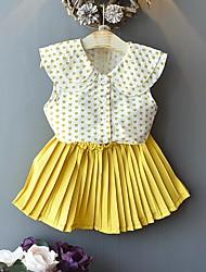 cheap -Kids Girls' Basic Print Short Sleeve Clothing Set Yellow