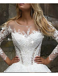 cheap -A-Line Wedding Dresses V Neck Court Train Tulle Long Sleeve Casual Plus Size Illusion Sleeve with Appliques 2020