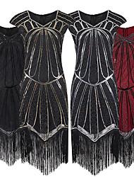 cheap -The Great Gatsby Retro Vintage 1920s Summer Flapper Dress Dress Women's Sequins Tassel Fringe Spandex Sequin Costume Black / Black+Golden / Black+Sliver Vintage Cosplay Event / Party Short Sleeve
