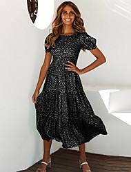 cheap -Women's 2020 A Line Dress - Geometic V Neck Spring & Summer Black Blue Red S M L XL
