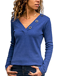 cheap -Women's Daily Work Basic / Street chic Blouse - Machine Blue Black