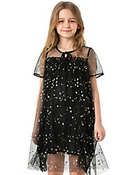 cheap -Toddler Girls' Solid Colored Short Sleeve Above Knee Dress Black