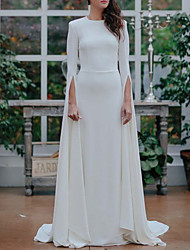 cheap -A-Line Jewel Neck Sweep / Brush Train Satin Long Sleeve Formal Plus Size Wedding Dresses with Draping 2020