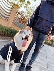 cheap -Dog Costume Hoodie Matching Outfits Dog Clothes Waterproof Black Costume Husky Labrador Alaskan Malamute Polyster Striped Leisure Simple Style Men M M L XL XXL XXXL