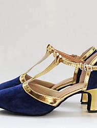 cheap -Women's Modern Shoes PU Heel Cuban Heel Dance Shoes Silver / Black / Black / Gold / Camel