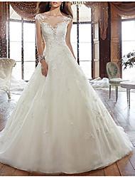 cheap -A-Line V Neck Court Train Tulle Regular Straps Formal Plus Size Wedding Dresses with Appliques 2020
