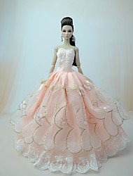 cheap -Doll Dress Party / Evening Ball Gown 5 pcs For Barbiedoll Lace Satin / Tulle Lace Satin Dress For Girl's Doll Toy