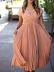 cheap -A-Line Mother of the Bride Dress Elegant V Neck Ankle Length Chiffon Short Sleeve with Sash / Ribbon Tier Ruching 2020 Mother of the groom dresses