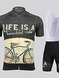 cheap -21Grams Men's Short Sleeve Cycling Jersey with Bib Shorts Spandex Polyester Black / Yellow Geometic Bike Clothing Suit UV Resistant Breathable 3D Pad Quick Dry Reflective Strips Sports Solid Color
