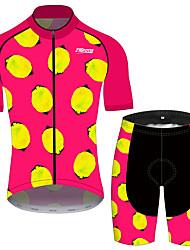 Недорогие -21Grams Жен. С короткими рукавами Велокофты и велошорты Розовый / черный Фрукты Лимонный Велоспорт Наборы одежды Дышащий 3D / Слабоэластичная / Горные велосипеды / Шоссейные велосипеды / 3D-панель