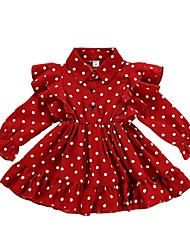 cheap -Baby Girls' Active Polka Dot Long Sleeve Dress Red / Toddler