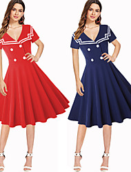 cheap -Audrey Hepburn Retro Vintage 1950s Wasp-Waisted Dress Women's Costume Red / Blue Vintage Cosplay Party Daily Wear Long Sleeve Midi / Stripes