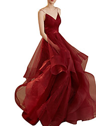 cheap -A-Line V Neck Floor Length Tulle Sleeveless Romantic Plus Size / Red Wedding Dresses with Cascading Ruffles 2020