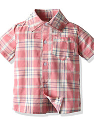 cheap -Kids Boys' Basic Patchwork Short Sleeve Shirt Blushing Pink