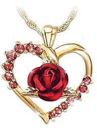 Недорогие -Жен. Цирконий Ожерелья с подвесками Цветочный Цветы Мода Позолота Золотой 45+5 cm Ожерелье Бижутерия 1 шт. Назначение На каждый день Праздники