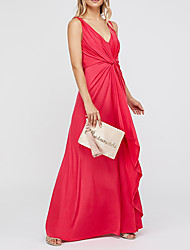 cheap -A-Line Holiday Formal Evening Dress V Neck Sleeveless Floor Length Polyester with Draping 2021