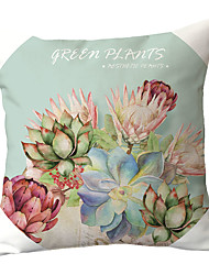 cheap -1 pcs Polyester Pillow Cover Red Hand-painted Pillow Case Cushion Succulent Cactus Green Cactus Aloe Gemstone Lotus Pillow Back