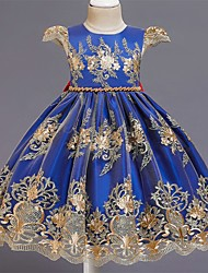 cheap -Kids Toddler Little Girls' Dress Floral Beaded Embroidered Blue Knee-length Short Sleeve Flower Sweet Dresses New Year Slim
