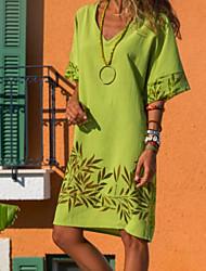 cheap -Women's Shift Dress - Short Sleeve Solid Colored V Neck Elegant Slim Blue Red Yellow Green S M L XL XXL XXXL