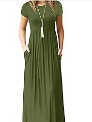 cheap -Women's Sheath Dress - Solid Colored Maxi Black Wine White S M L XXL