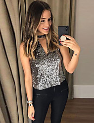 cheap -Women's Daily Basic Tank Top - Solid Colored Sequins Silver
