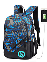 cheap -Waterproof Oxford Glitter / Zipper Commuter Backpack Floral Print School Blue