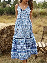 cheap -Women's / Ladies 2020 Date Street Bohemian Style Boho Loose Swing Dress - Bohemian Style Printing Strap Spring & Summer Black Blushing Pink Blue S M L XL Belt Not Included