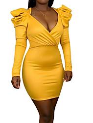 cheap -Women's Sheath Dress - Solid Colored Black Wine Yellow S M L XL
