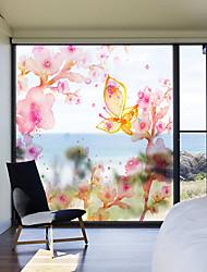 Недорогие -штейн / С цветами 58 cm 60 cm Матовое стекло / Стикер на окна / Стикер на двери ПВХ
