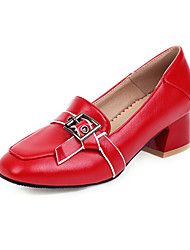 cheap -Women's Loafers & Slip-Ons Low Heel Square Toe Buckle PU Casual Summer Black / White / Red