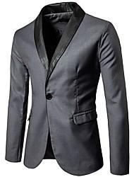 cheap -Men's Blazer Shawl Lapel Polyester Black / Gray