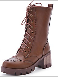 cheap -Women's Boots Chunky Heel Round Toe PU Mid-Calf Boots Winter Black / Brown / Beige