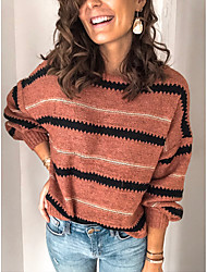 cheap -Women's Solid Colored Long Sleeve Pullover Sweater Jumper, Round Black / Blushing Pink S / M / L