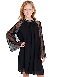 cheap -Toddler Girls' Solid Colored Long Sleeve Above Knee Dress Black