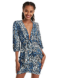 cheap -Women's Light Brown Yellow Dress Basic Daily Wear Date Sheath Leopard Print Deep V Split Leopard Print S M