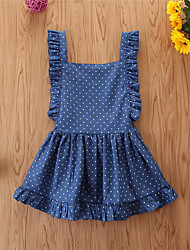 cheap -Baby Girls' Basic Polka Dot Sleeveless Above Knee Dress Blue
