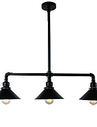 cheap -3-Light 3-Head Vintage Industrial Pipe Pendant Lights Metal Shade Living Room Dining Room Painted Finish