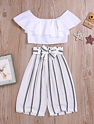 cheap -Kids Girls' Basic Striped Short Sleeve Clothing Set White