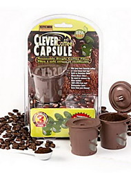 cheap -3 Brown Clever Coffee Capsules Reusable Coffee Filter Tea Stainless Funnel Scoop