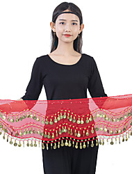 cheap -Women's Dancer Belly Dance Masquerade Oriental Screen Cloth Alloy Lake blue Pink Black 4 Hip Scarf