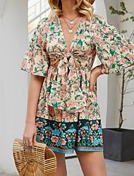 cheap -Women's / Ladies Date Street Ethnic Style Ethnic Lantern Sleeve A Line Dress - Bohemian Style Tropical Leaf, Printing Blushing Pink S M L XL