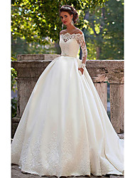 cheap -A-Line Wedding Dresses Off Shoulder Court Train Lace Long Sleeve Country Illusion Sleeve with 2020