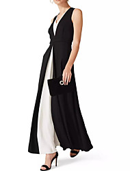 cheap -A-Line Elegant Black Wedding Guest Formal Evening Dress V Neck Sleeveless Ankle Length Chiffon with Draping Split Front 2020