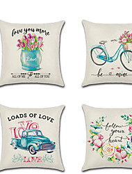 cheap -Set of 4 Linen Pillow Cover  Lovers Wedding Flower Valentine's Day Throw Pillow 45*45 cm