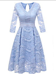 cheap -Women's Swing Dress - Solid Colored Blushing Pink Light Blue S M L XL