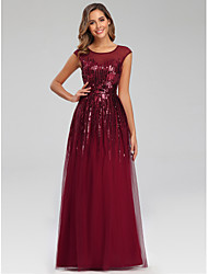 cheap -A-Line Jewel Neck Floor Length Polyester Sparkle / Elegant Engagement / Prom / Wedding Guest Dress with Sequin 2020